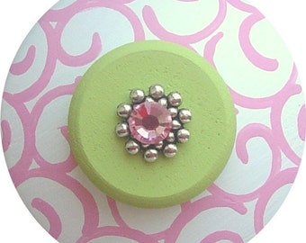 Pink Apple Green Swirls Swarovski Crystal Jeweled Hand Painted Wood Decorative Dresser Furniture Kids Girls Room Nursery Drawer Pulls Knobs