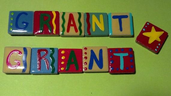 Ceramic Tile Letter Magnets for asilverpenny