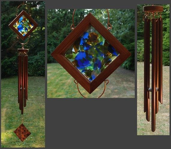 Wind Chime, Beach Glass, Sea Glass, Stained Glass, Copper, Windchimes, Windchime