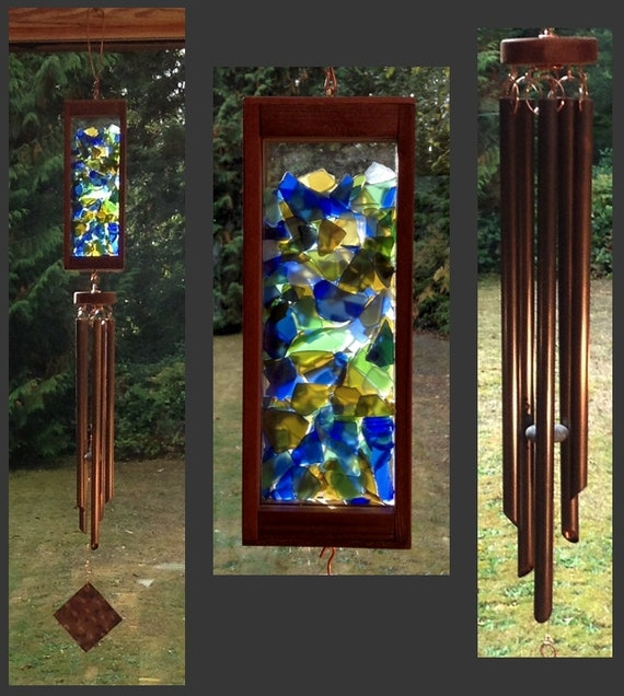 Wind Chime, Beach Glass, Stained Glass, Copper, Handcrafted, Mosaic, Windchimes, Wind Chimes, Suncatcher