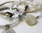 gypsy bangle stack - tribal assemblage - white ivory - victorian salvage - beaded - silk textile - shabby chic - crystal gemstone
