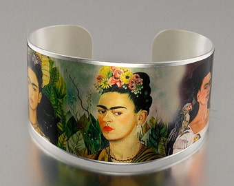 Photo Cuff, Brass Cuff Bracelet, Altered Art Jewelry, Photo Jewelry - Matte Silver FRIDA KAHLO Collage - Sealed in Resin