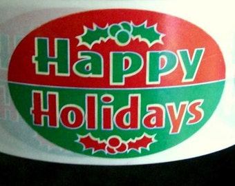 40 'Happy Holidays' stickers, red and green with holly, 2 inch