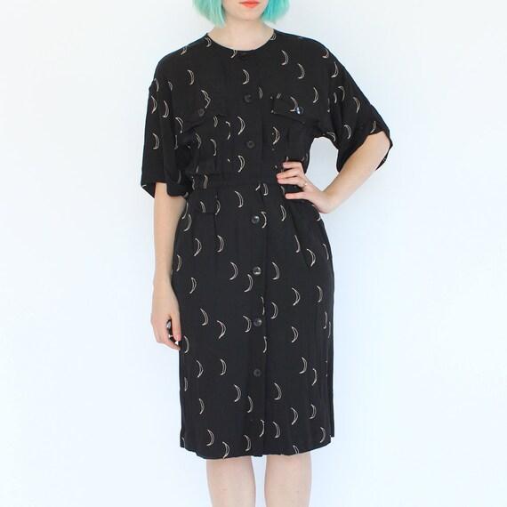 vintage 90's rayon CRESCENT MOON lunar print dress