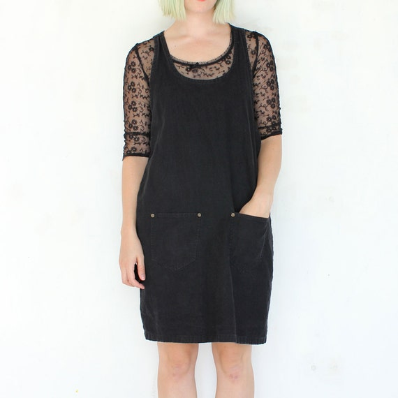 vintage 90's cotton woven GRUNGE jumper pocket dress