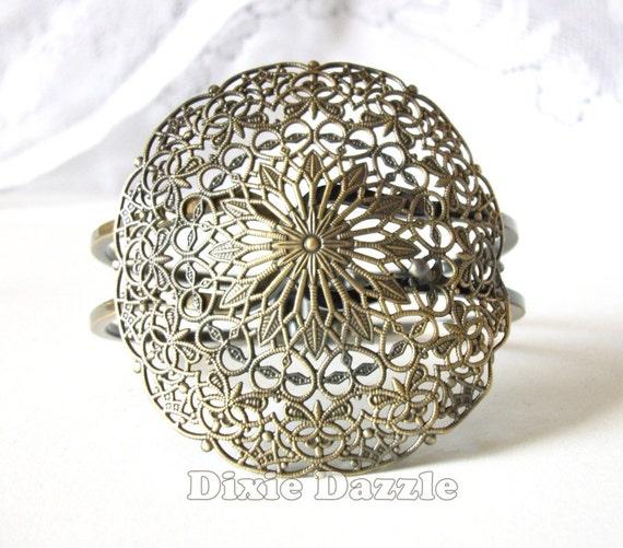 1 Brass hinged cuff bracelet, 56mm filigree, antiqued bronze finish