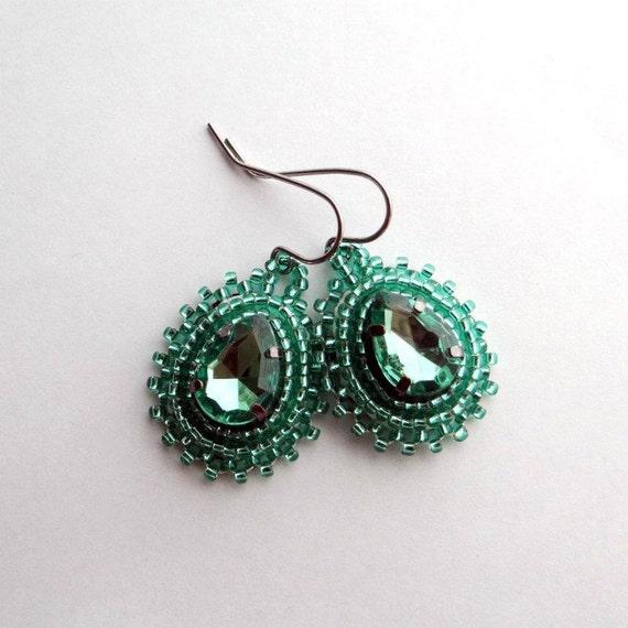Green Rhinestone Beaded Earrings