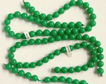 100 Vintage Japan Jade Green Glass Beads