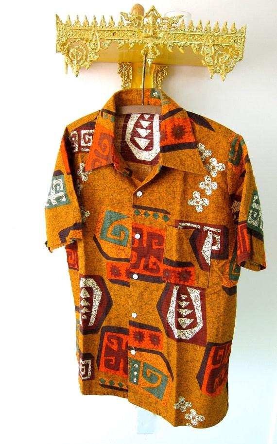 70s Hawaiian Shirt Mens Vintage Kings Road Barkcloth Cotton