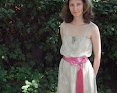 Secret Garden dress in taupe lace with pink