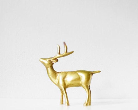 Vintage brass deer buck or reindeer
