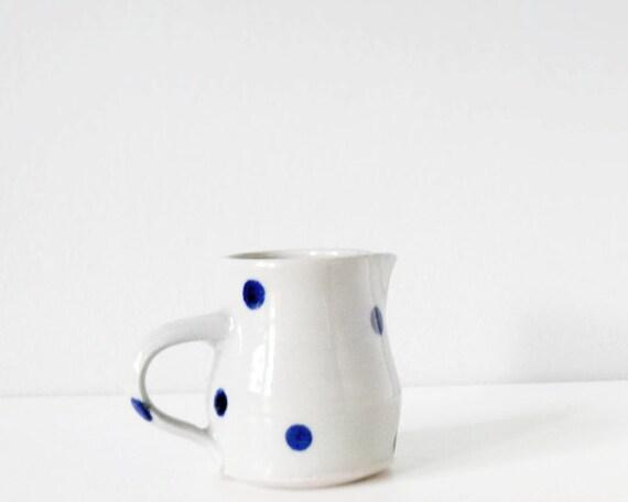Sweet small polka dots creamer  - pretty modern kitchen - handmade ceramic mini pitcher grey blue pottery