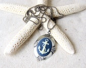 Anchor Cameo Necklace - ivory anchor with navy blue background  - Anchor Cameo - Anchor Jewelry - Nautical Fashion