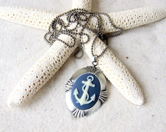Anchor Cameo Necklace - ivory anchor with navy blue background - Anchor Jewelry - Nautical Fashion Beach Wedding Bridesmaids Gift