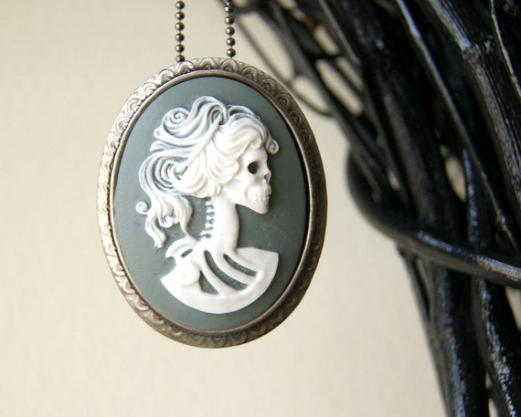 Female Skeleton Necklace - cameo jewelry, brooch, Lolita, Day of the Dead, Halloween, autumn, fall - Handmade by BlackStar