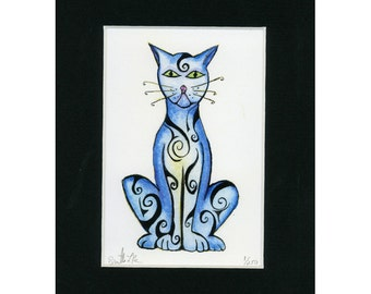 Artsy Fun and Funky Cat  Print 1 of 250
