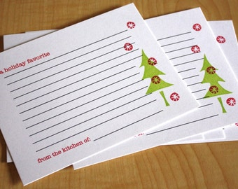 Holiday Recipe Cards - Holiday Favorite - Christmas Tree Holiday Recipe Cards - Family Holiday Recipe Cards - Hand Printed - Set of 5