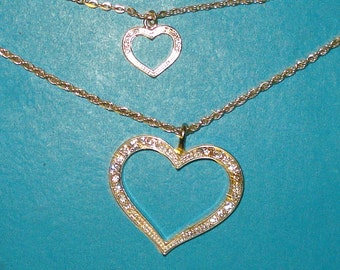 SALE - Vintage 1980s Silver Double Heart Two Strand Necklace - CLEARANCE