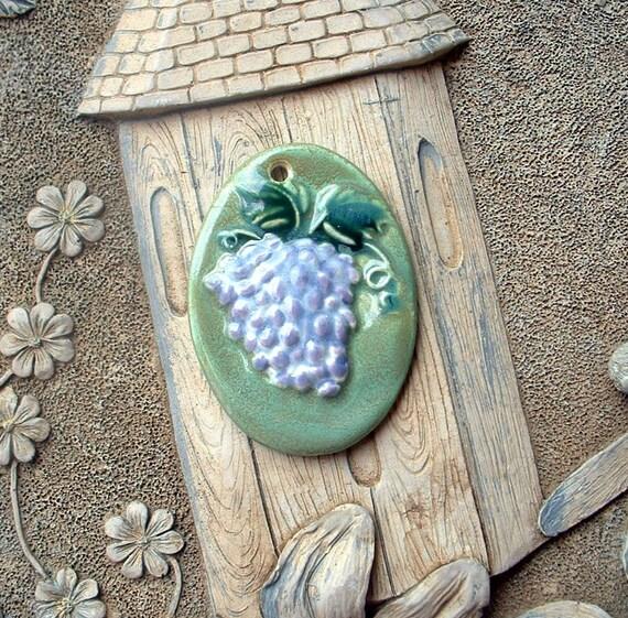 Fruit of the Vine Ceramic Clay Grape Pendant