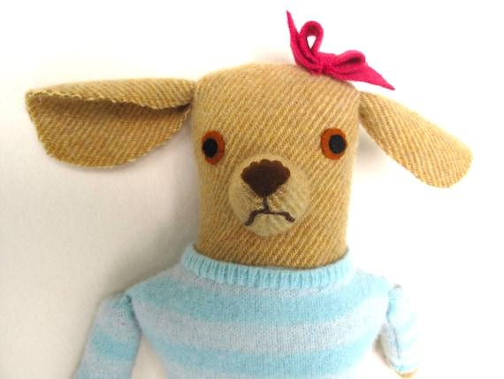 Girl Dog in Sweater wool doll