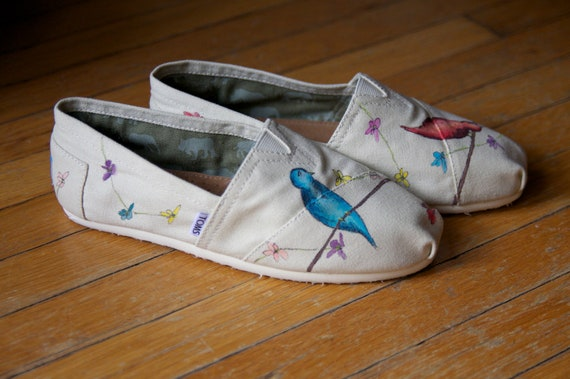 Size 9  - Birds and Wildflowers All Over Custom TOMS Shoes - Ready to Ship