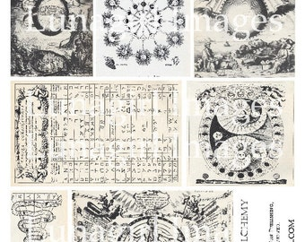 ALCHEMY 2, collage sheet DOWNLOAD medieval pages antique book text illustrations digital ephemera background gothic steampunk vintage images