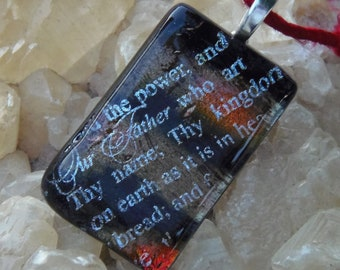 Lord's prayer fused dichroic glass pendant necklace with recycled sari yarn cord