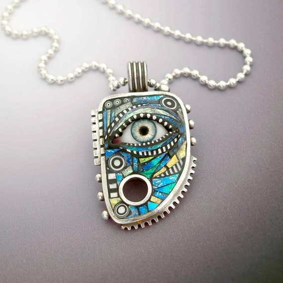 Sterling Silver Pendant with Eye inlaid with Blue Green Iridescent Mosaic Polymer