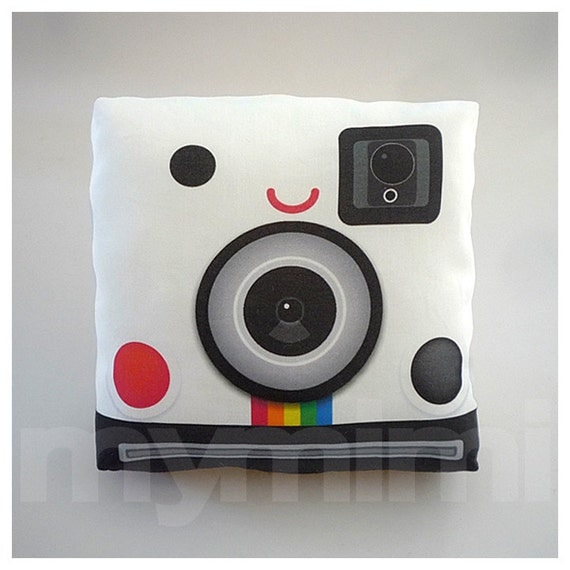 "Retro Camera,  Polaroid Pillow, Camera Pillow, Vintage, Geek Pillow, Throw Pillow, SX70, Old School, 70's, Kawaii, Room Decor, 7 x 7"""