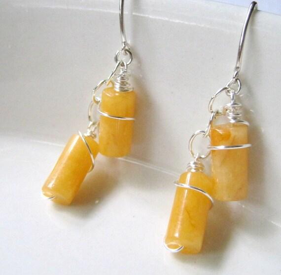 Butterscotch Yellow Jade Earrings