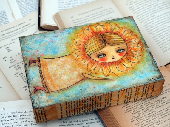 I'll Follow The Sun - Original Mixed Media Painting Collage By Danita Art - 6x8 Inches On Deep Wood Panel