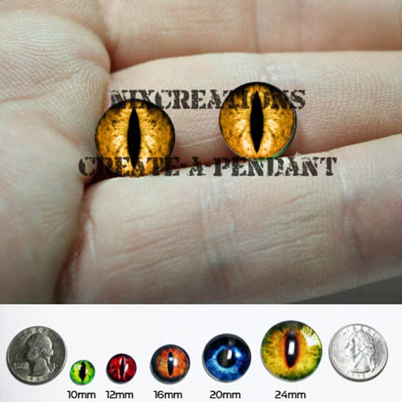 Taxidermy Glass Eyes - 12mm - Orange Dragon Eye Cabochons for Steampunk Jewelry and Pendant Making