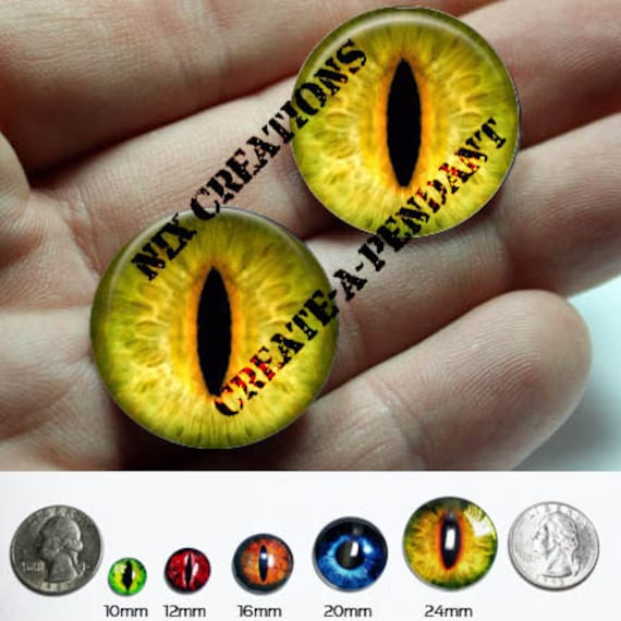 20mm Handmade Set of Glass Yellow Dragon Glass Eyes Taxidermy Cabochons for Steampunk Jewelry and Pendant Making