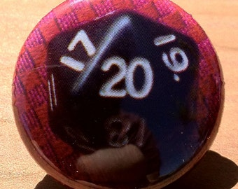 d20 Gaming Dice - Button, Magnet, or Bottle Opener