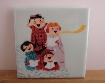 Carolers Christmas Tile Coaster