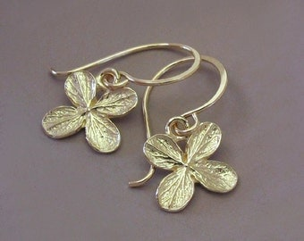 14k Yellow Gold Earrings - Hydrangea Flower