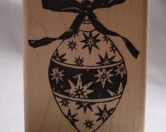 elongated vintage style star ornament rubber stamp