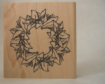 christmas lily wreath rubber stamp