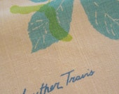 Luther Travis Vintage Table Linen - Blue & Green Leaf Print on Ivory - Great Condition Cotton Linen Tablecloth