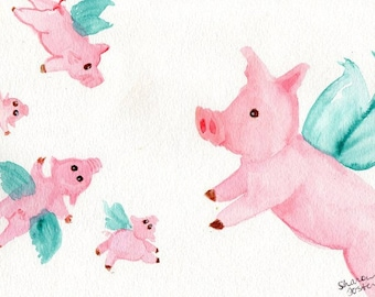 Flying Pigs watercolor painting original, Flying Pig, pig painting, Watercolor pigs with wings, when pigs fly watercolor painting