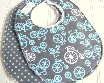 Baby Bibs for Baby Boy  -  Set of 2 Triple Layer Chenille Bibs - Bicycles & Dots in Grey and Blue