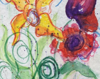 Original Watercolor Painting abstract flower ACEO Fine Art ATC 2 1/2 x 3 1/2