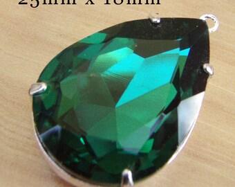 Emerald Pendant, 25mm x 18mm Pear, Silver Plated Brass Setting, Rhinestone, Glass Jewel, 18x25 Teardrop, Set Stone, Dark Green, Glass Gem
