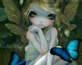 Lily butterfly lotus blossom flower lilypad goth fairy art print by Jasmine Becket-Griffith 8x10