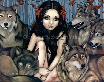 Raised by Wolves autumn wolf dog fairy art print by Jasmine Becket-Griffith 8x10.8