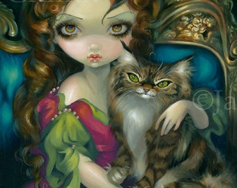 Princess with a Maine Coon Cat kitty queen fairy art print by Jasmine Becket-Griffith 8x10