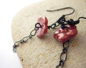 Beaded Glass earrings, handmade beaded jewelry - red blossoms