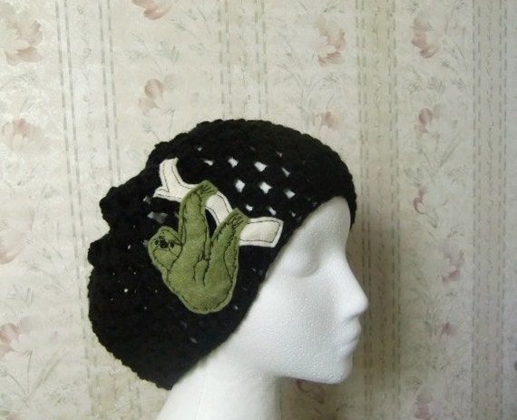 Black sloth slouchy hat - accessories - black hat - winter hat - sloth patch - fall hat - women accessories - black yarn