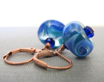 Copper Earrings, Glass Earrings, Blue Green Glass, Blue Swirls, Copper Jewelry, Cobalt Blue, Lampwork Glass, Glass Jewelry, Beaded Earrings