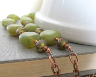 Copper Necklace, Glass Necklace, Czech Glass, Earthy Rustic, Beaded Necklace, Light Amber, Sage Brown, Yellow Green